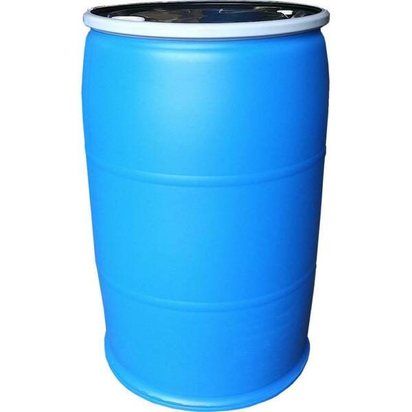 55 Gal. Open Top Plastic Industrial Drum with Lid and Lock Band Water Container $158.46