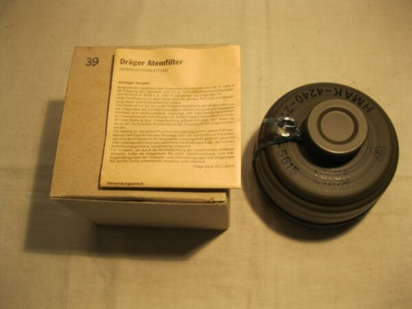 Vintage 1985 German Drager M38 40MM Military Gas Mask Filter w Papers Box New