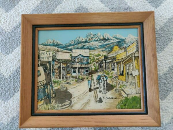 VINTAGE SIGNED H. HARGROVE 8quot; x 10quot; OIL PAINTING CANVAS WESTERN GOLD RUSH TOWN