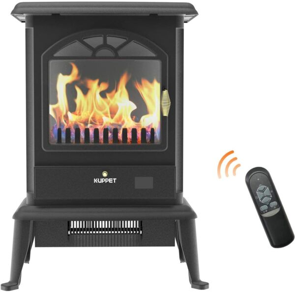 Electric Fireplace Stove Freestanding Stove Heater Portable Indoor 3 Sides Fire