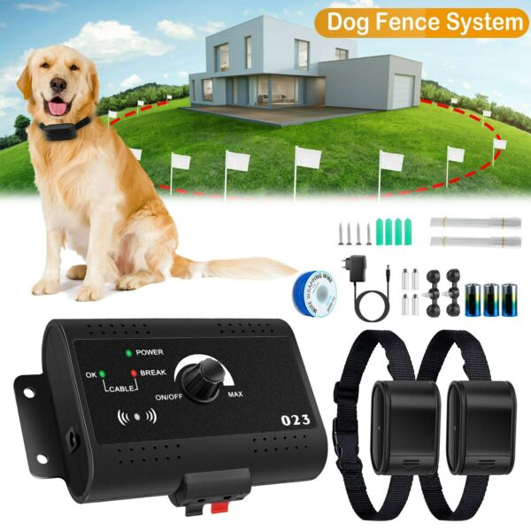 Wireless Electric Dog Fence Containment System Pet Shock Collars For 2 Dogs