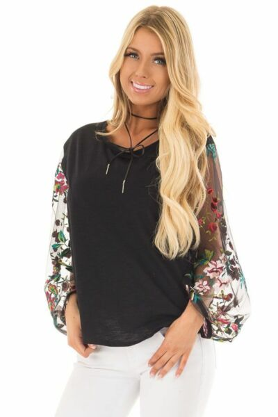 SML BLACK UMGEE quot;tattooquot; Embroidered Sheer Sleeve Knit Shirt TOP BLOUSE BHCS