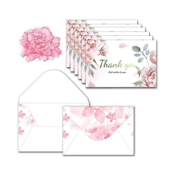 Thank You Cards Bulk Blank Set of 48 Pcs Floral Watercolor Envelopes and Sti...