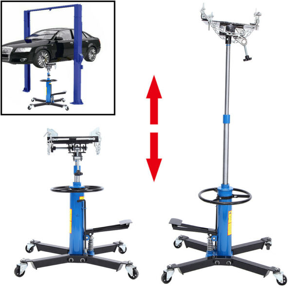 1100LBS 2 Stage Hydraulic Transmission Jack 360° Swivel Wheels For Car Lift