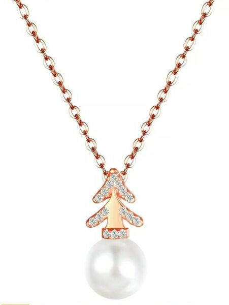 Women Necklace Rose Gold Christmas Tree Necklaces Cultured Pearl Pendant