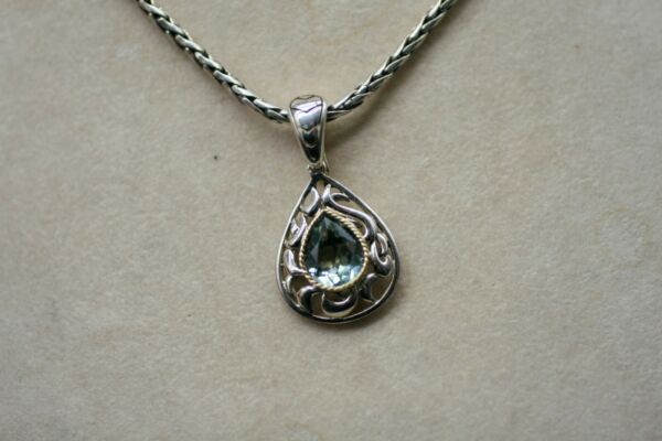 EFFY Sterling 18K GREEN AMETHYST Pendant and Wheat Chain Necklace 18quot; F1
