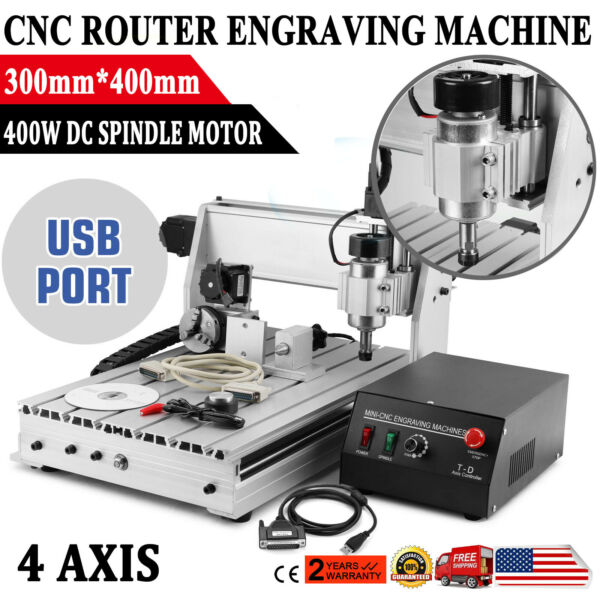 CNC Router Engraving Machine Engraver T SCREW 3040T 4 Axis Desktop Wood Carving $534.00