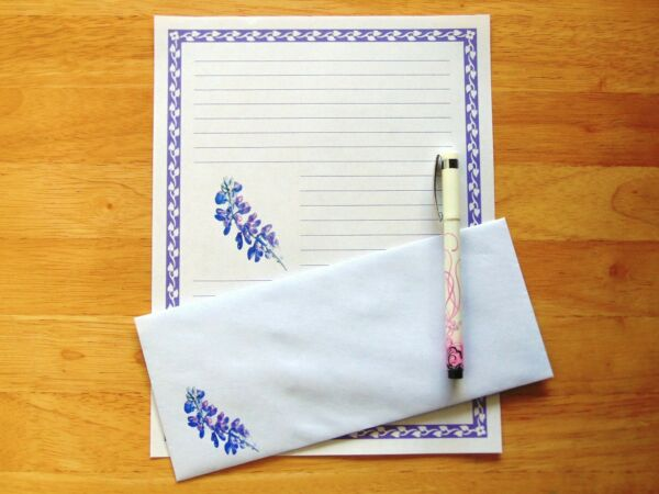 Lupine Flower Stationery 12 Sheets 6 Envelopes Lined Stationary $12.00
