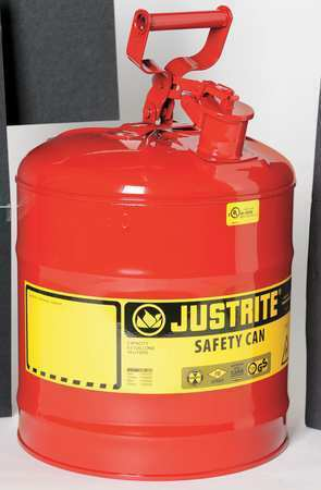Justrite 7150100 5 Gal. Red Steel Type I Safety Can For Flammables $48.36