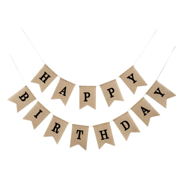 Happy Birthday Burlap Banner Rustic Party Bunting Banner Decor Hessian Banner SP