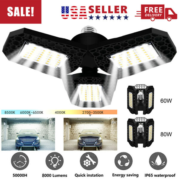 80W 8000LM Deformable LED Garage Light Super Bright Shop Ceiling Lights Bulb US $17.88