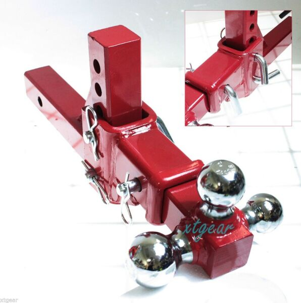 2quot; Tri Ball Tow Red Hitch 3 Way Adjustable Vertical Travel Solid Raise Drop $103.99