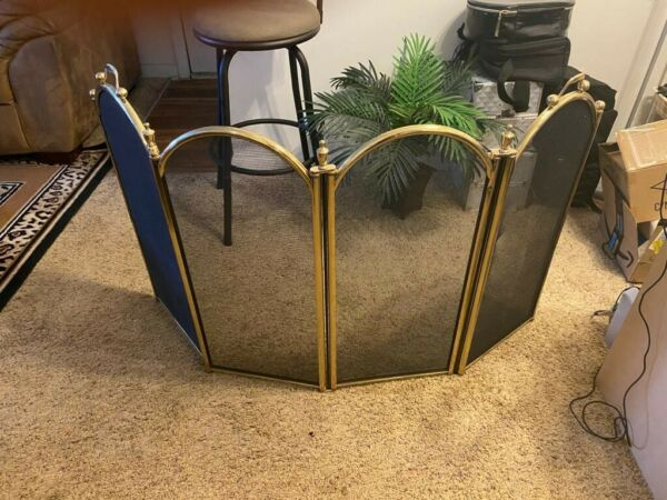 Bright Brass Free Standing 4 Panel Fireplace Screen 48quot;