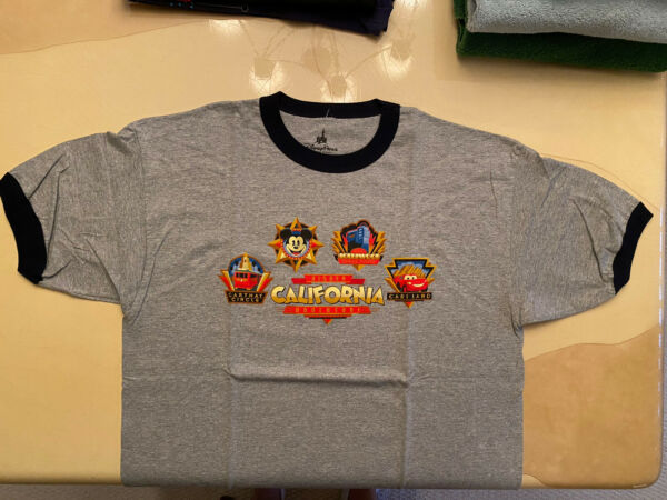 Disneyland CALIFORNIA ADVENTURE Retro Logo Icons T Shirt XL Mickey Mouse Tower $14.99
