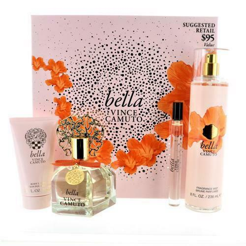 VINCE CAMUTO BELLA by Vince Camuto 4 PIECE GIFT SET 3.4 OZ EAU DE PARFUM SPRAY