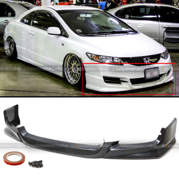 Fit 09 11 Honda Civic 2Dr Coupe PU HFP Style Front Bumper Lip Spoiler Bodykit