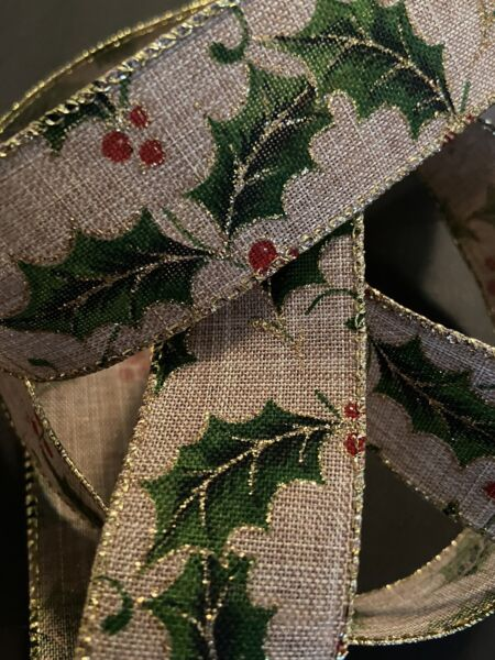"""Christmas Holly Burlap Ribbon w Glitter Accents Wired Edge 1.5"""" X 10 Yards"""