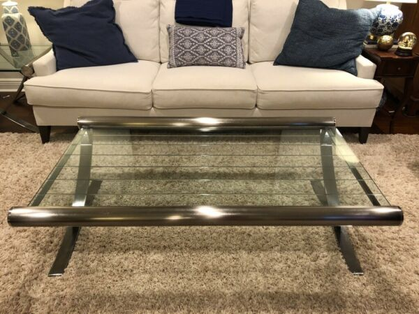 Cantoni Cocktail Coffee Table and End Table Metal amp; Glass Excellent Condition