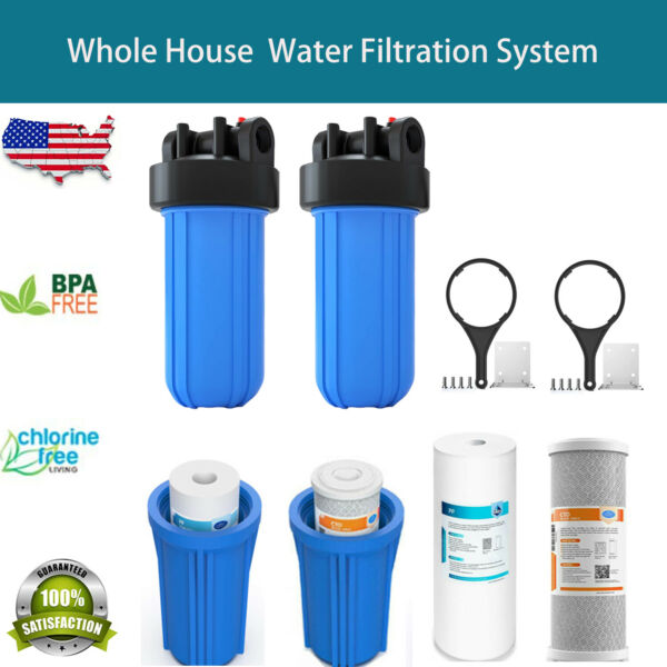 4.5x10 inch Big Blue Water Filter Housing Whole House Water Filtration System