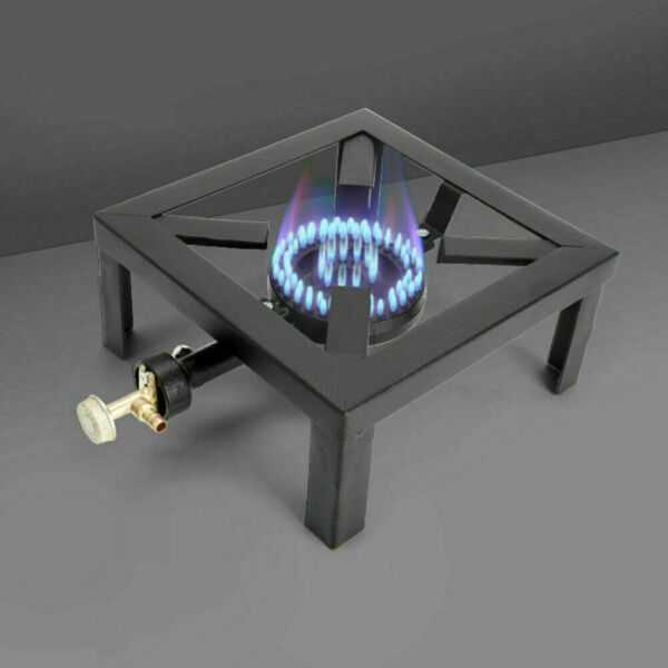 Single LPG Gas Burner Cooker Cast Iron Boiling Ring Camping Catering Restaurant