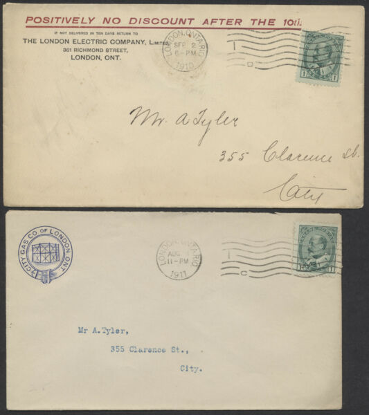 1910 11 Two London Ont Utility Company Covers Electricity Gas