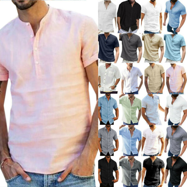 Mens Linen Short Sleeve Summer Solid Shirts Casual Loose Buttons Tee Top Blouse