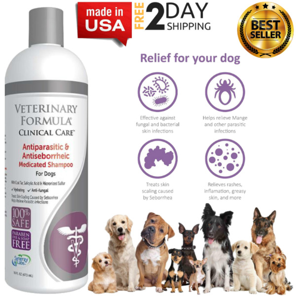 Dogs Medicated Shampoo Dog For Mange Mites Scabies Ticks Fleas Skin Antifungal $16.99