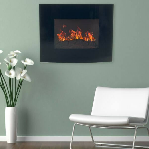 Northwest Mini Curved Fireplace w Wall and Floor Mount 25quot; Black