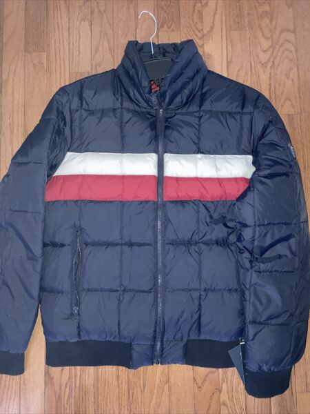 TOMMY HILFIGER Men#x27;s Down Quilted Bomber Puffer Jacket sz L NEW $200 $59.99