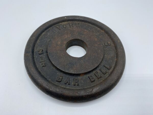 Vtg YORK 5quot; Cast Iron 2.5 lb Barbell Plate Weight Small Standard 1quot; Center Hole $18.79