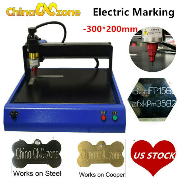 Electric Metal Marking Engraving Machine For Card Dog Tag Steel Signs 300x200mm $589.00