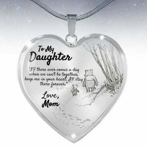 To My Daughter Love Mom Necklace Winnie the Pooh And Piglet Heart FREE SHIPPING $14.34