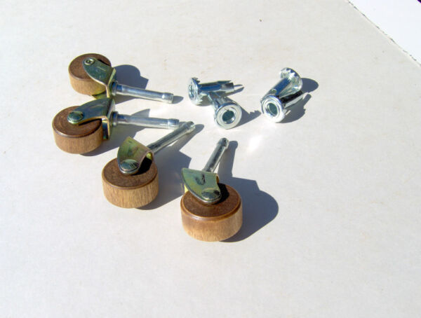 Dresser Wheels Casters Wooden Rollers Wheels Replacement Wood Casters Set of 4