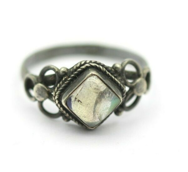 2.200 Grams Natural Good Fire Square Rainbow Moonstone Vintage Ring