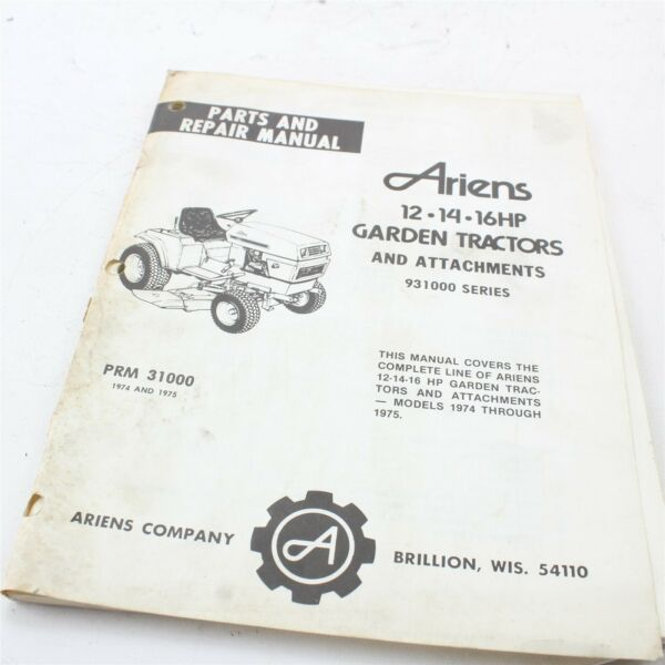 Ariens Parts And Repair Manual 12 14 16 hp garden tractors 931000 series