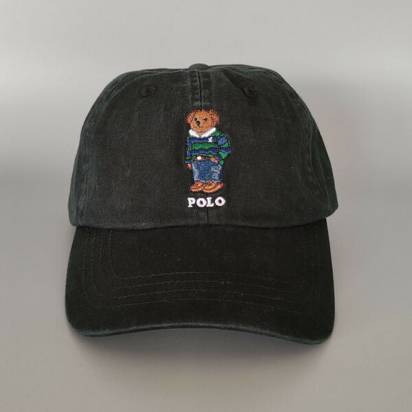 Baseball Cap Blue And Green Stripe Sweater Bear Polo Embroidery Hat Outdoor Hat $20.90