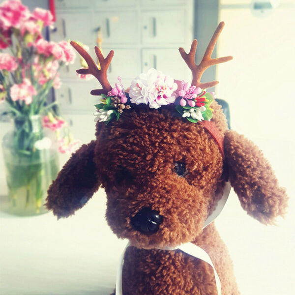 Christmas Dog Pets Hairband Carnival Hair Clip Antlers Bands Headdress Ornaments $5.81