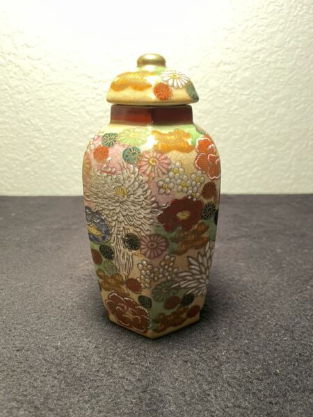 Japanese Kutani Porcelain Hexagonal Vase Flowers Japan