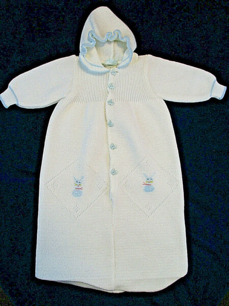 Vtg ONCE UPON A TIME Knit Bunting Infant Sz 3 6 mos White Sweater EASTER Bunny