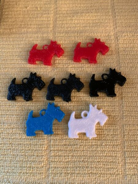 Vintage SCOTTIE DOG 7 Colored Plastic Charms Scotty Dogs Red Blue Black White $8.99