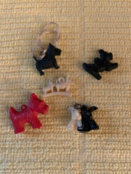 Vintage Plastic amp; Celluloid Scottie Scotty Dogs 5 Charms in various shapes Lot#1 $9.99