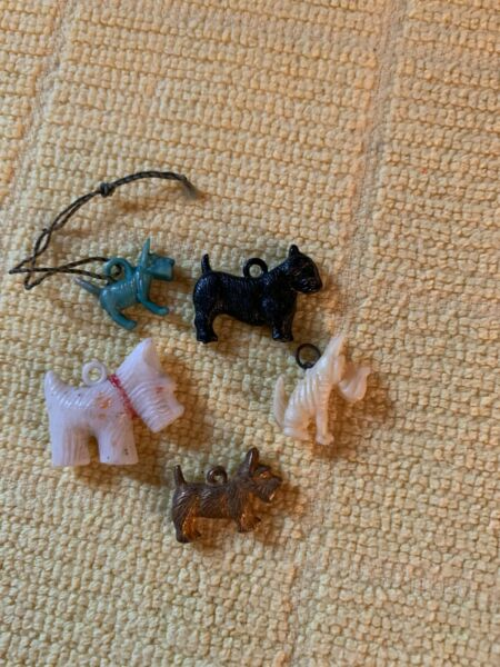 Vintage Plastic amp; Celluloid Scottie Scotty Dogs 5 Charms in various shapes Lot#3 $9.99