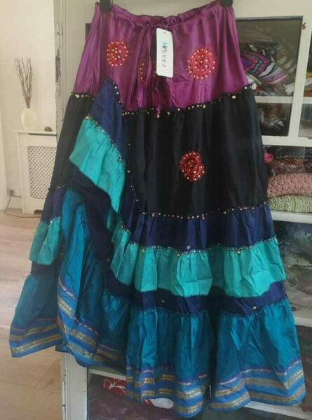 stunning TIERED BOHO EMBELLISHED SILK SKIRT*GYPSY*HITCH STYLE multi colour 10 14 GBP 21.99