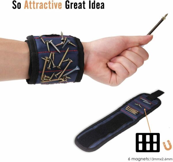 Magnetic Wristband Small Tools Holder for Men and Women Midnight Blue Magnets