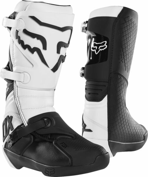 Fox Racing Mens Size 11 White Black Comp Dirt Bike Boots MX ATV $135.00