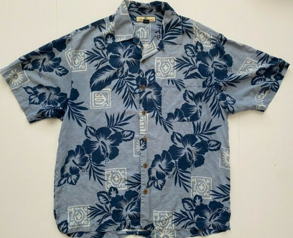 Tommy Bahama Mens Blue Floral 100% Silk Hawaiian Shirt Medium $22.49