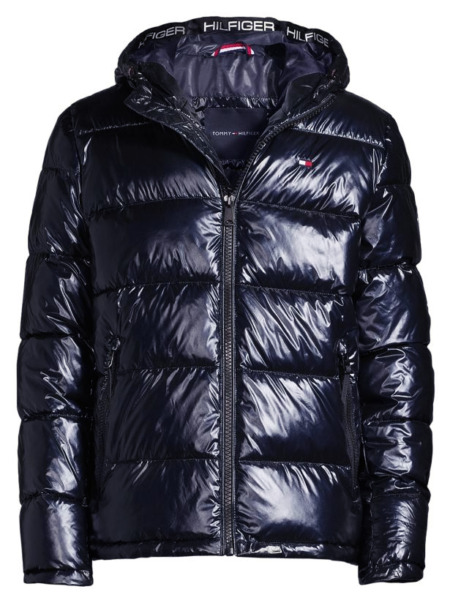 $250 Tommy Hilfiger Men#x27;s Navy Blue Pearlized Performance Hooded Puffer Jacket $79.95