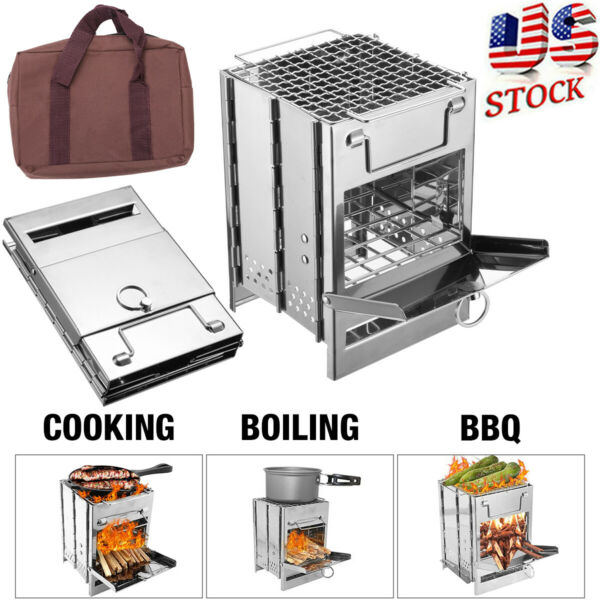 Foldable Outdoor Wood Stove Portable Survival Wood Burning Camping Picnic Stove $21.66