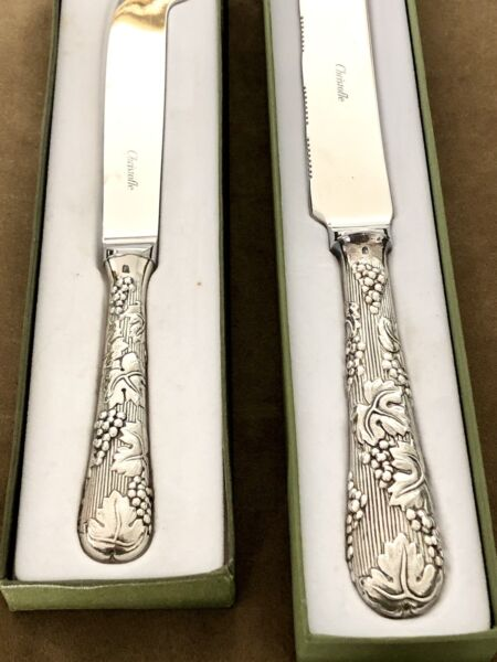 CHRISTOFLE SILVERPLATED RARE SET OF BREAD AND CHEESE KNIVES quot;VINEAquot;
