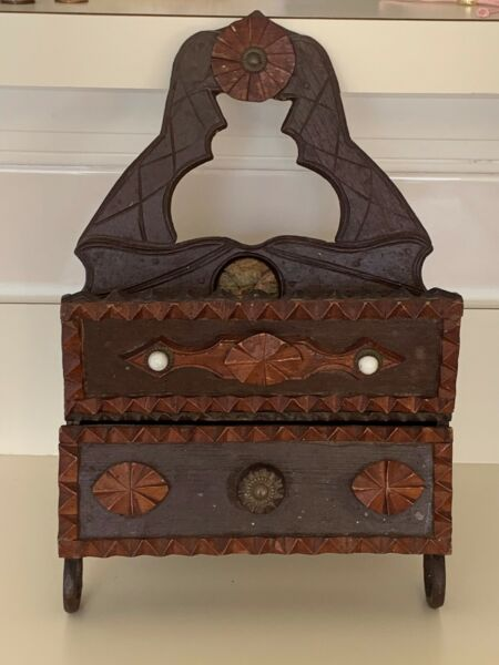 OLD WOODEN TRAMP ART WALL COMB BOX WITH DRAWER